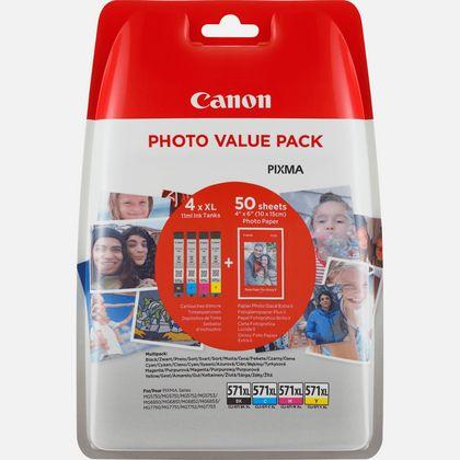 Cartouche d'encre Canon CLI-571XL BK/C/M/Y à haut rendement + Pack économique de papiers photo