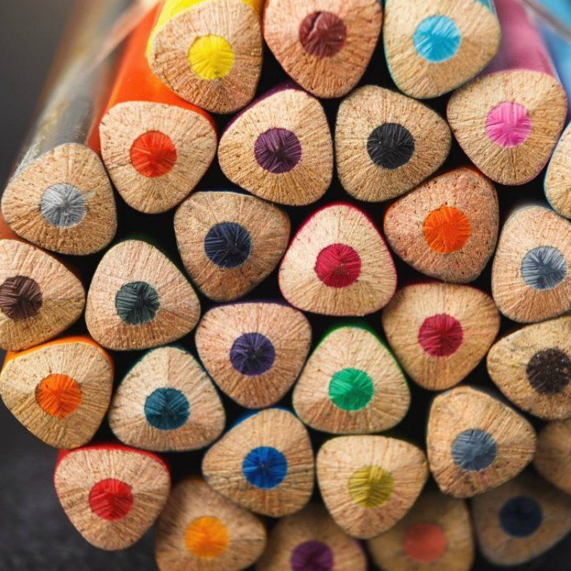 Colourful pencils in a bundle