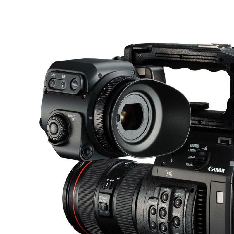 Close up view of Canon C200 video camera built in camera controls.