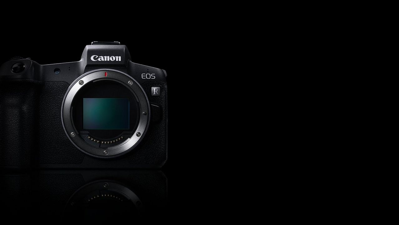 Front image of Canon EOS R with sensor exposed