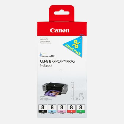 Multipack de 5 cartouches d'encre Canon CLI-8 BK/PC/PM/R/G