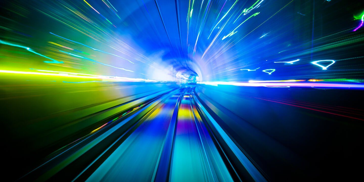 Blue speed of light through a tunnel