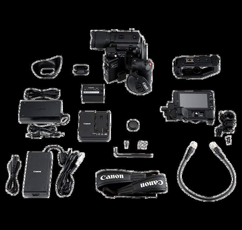 Canon C200 video camera - full kit including LCD monitor, battery pack, handle unit etc.