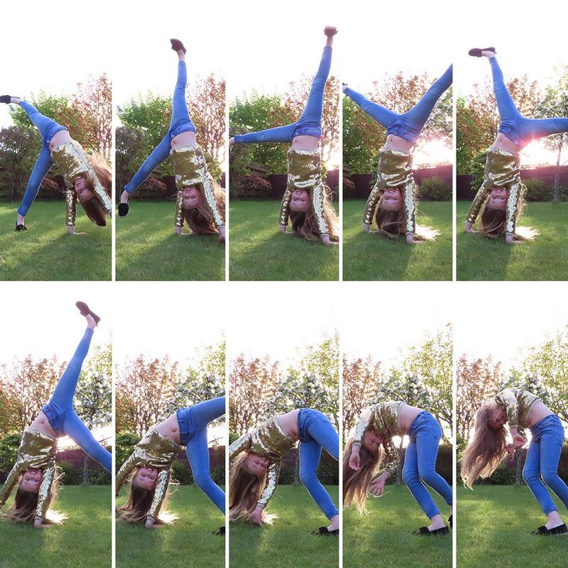 Young girl doing a cartwheel frame by frame