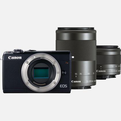 Canon EOS M100 noir + objectif EF-M 15-45 mm IS STM noir + objectif EF-M 55-200 mm IS STM noir