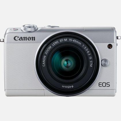 Canon EOS M100 blanc, objectif EF-M 15-45mm f/3.5-6.3 IS STM argent et 50 Go d'espace de stockage Irista