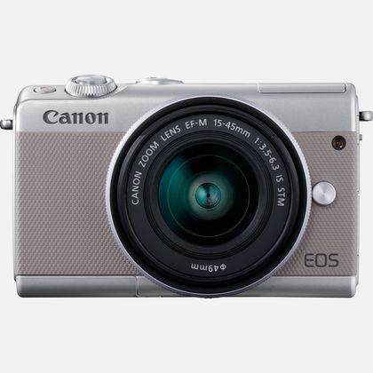 Canon EOS M100 gris, objectif EF-M 15-45mm f/3.5-6.3 IS STM argent et 50 Go d'espace de stockage Irista