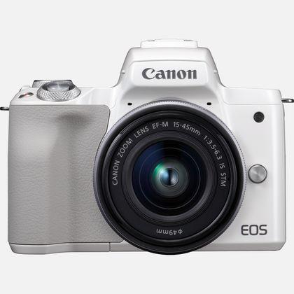 Canon EOS M50 Blanc + objectif EF-M 15-45mm STM Argent