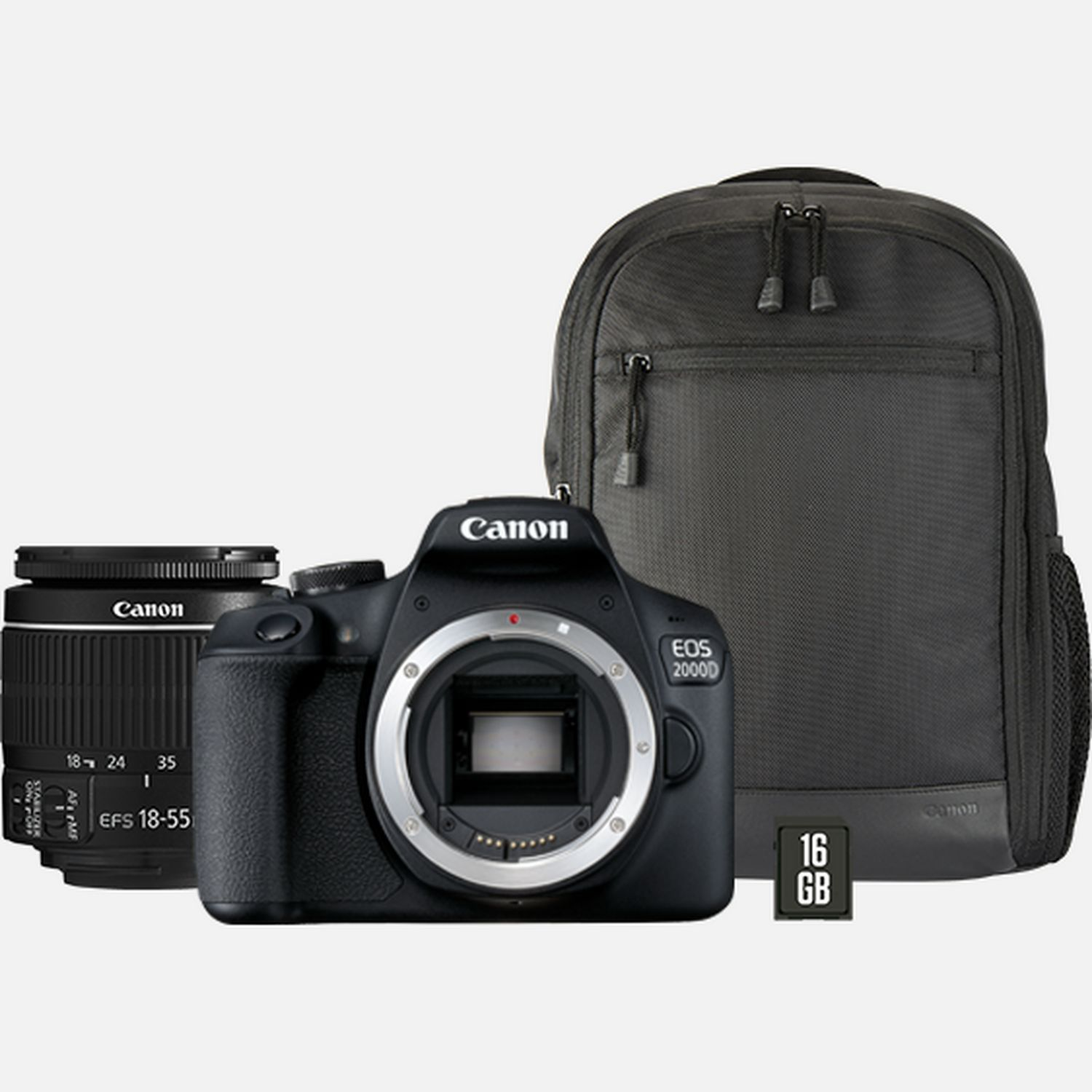 Image of Canon EOS 2000D + EF-S 18-55mm IS II Lens + Backpack + SD card
