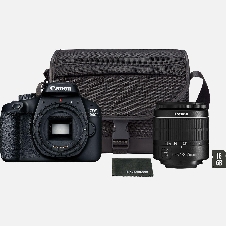 3efd19e9c56 Buy Canon EOS 4000D Black + EF-S 18-55mm III Lens + Bag + SD Card in Wi-Fi  Cameras — Canon UK Store