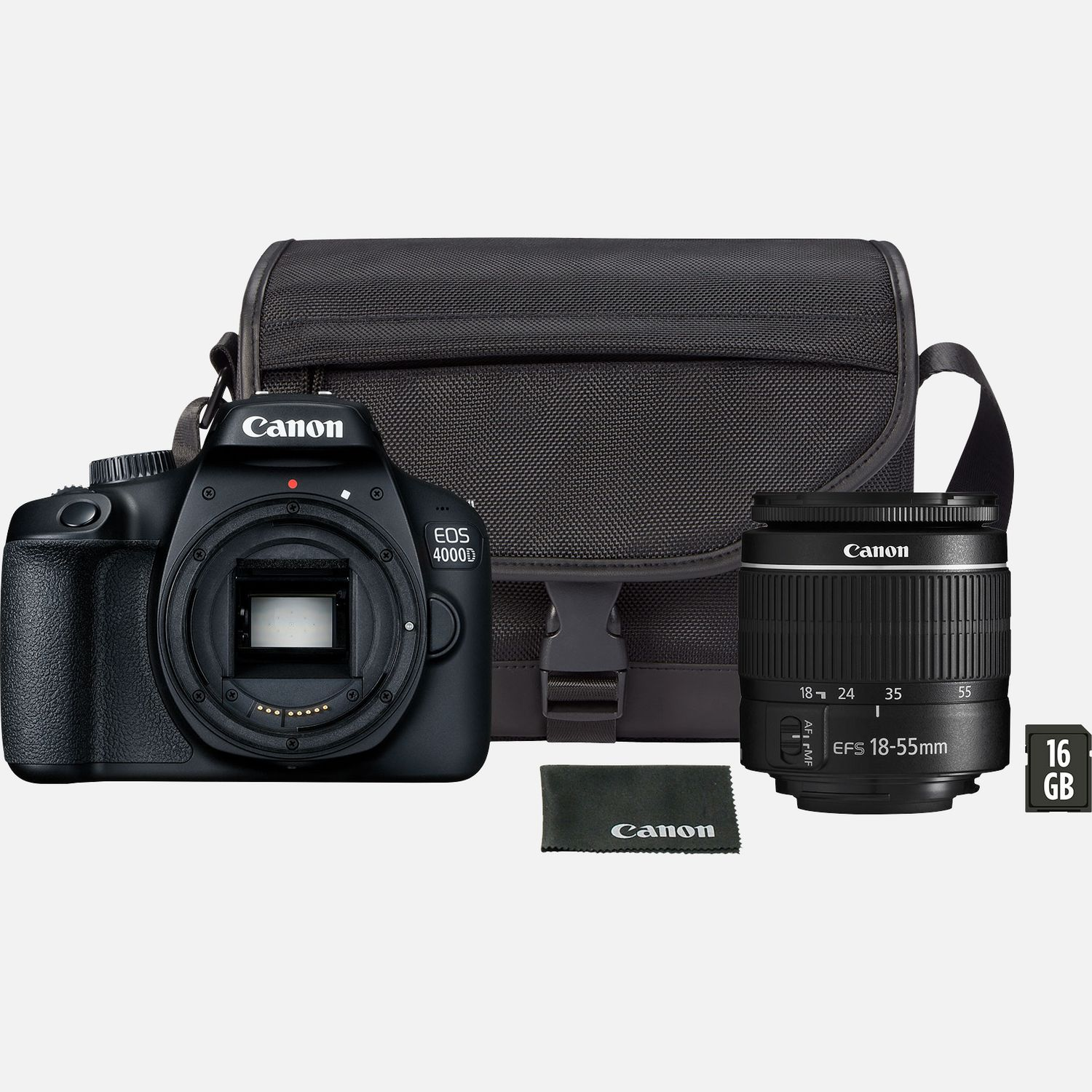 Image of Canon EOS 4000D Black + EF-S 18-55mm III Lens + Bag + SD Card
