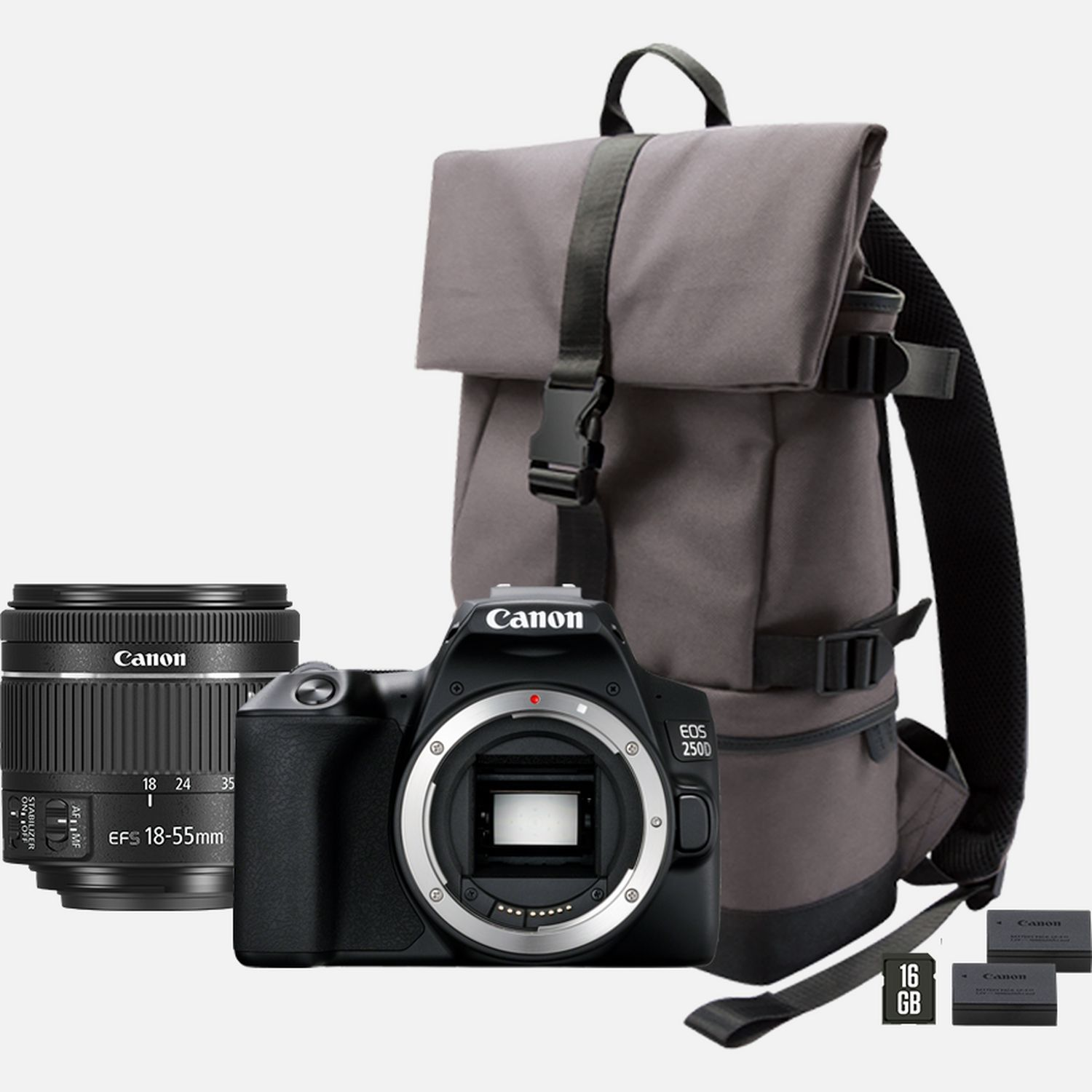 Image of Canon EOS 250D, Black + 18-55mm f/4-5.6 IS STM Lens Black + Backpack + SD Card + Spare Battery