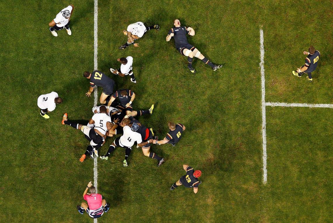 An aerial shot of Wales and Fuji rugby players, taken by Tom Jenkins.