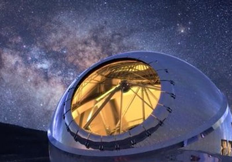 The 'Thirty Metre Telescope', located at Mauna Kea, Hawaii, against the backdrop of a clear and starry night.