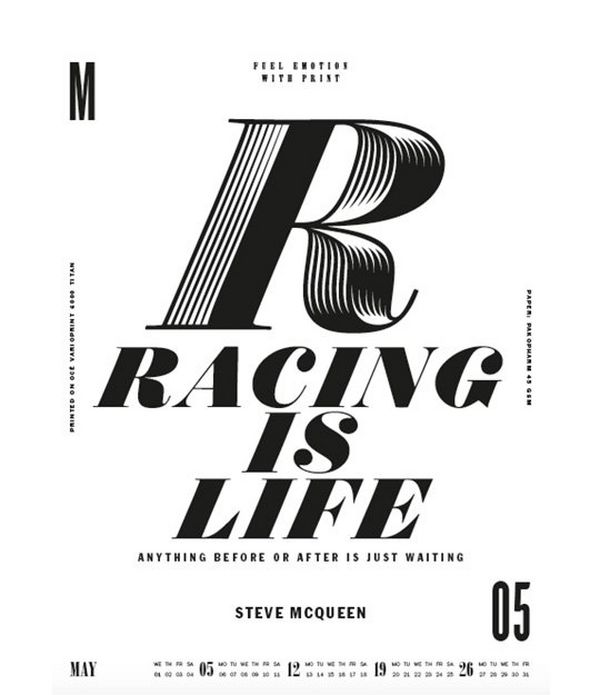 The words 'Racing is Life' type designed by Lars Harmsen.
