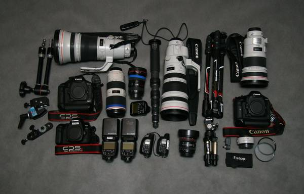 Andrey Golovanov's kit including two Canon EOS-1D X Mark II bodies, several Canon lenses and Speedlite flashes.