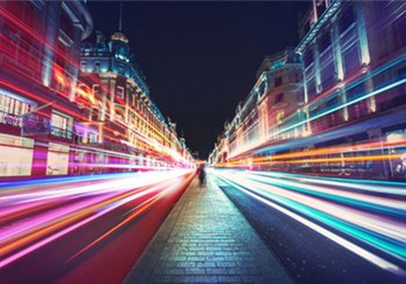 City street with a colourful speed/motion effect applied