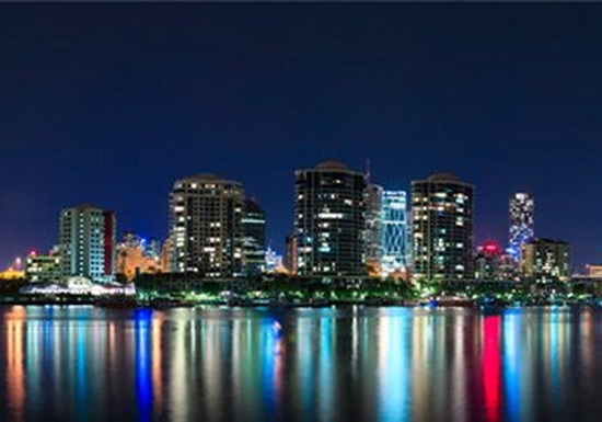 Brightly coloured Brisbane cityscape