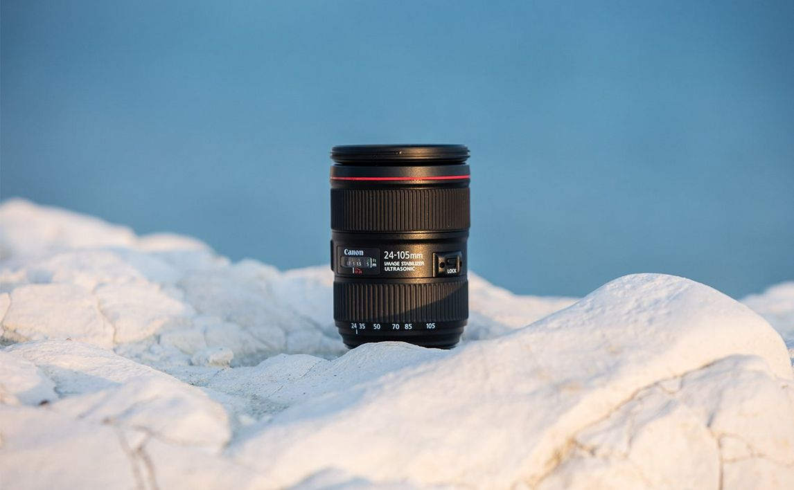 Canon EF 24-105mm f/4L IS II USM white rocks and clear skies