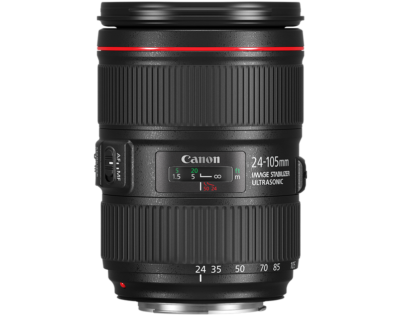 Canon EF 24-105mm f/4L IS II USM vertical side view shot