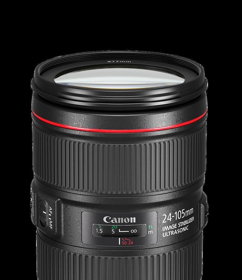 Canon EF 24-105mm f/4L IS II USM side view shot