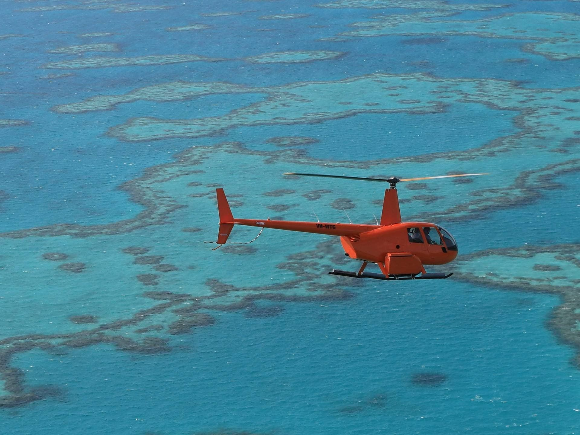 Orange helicopter