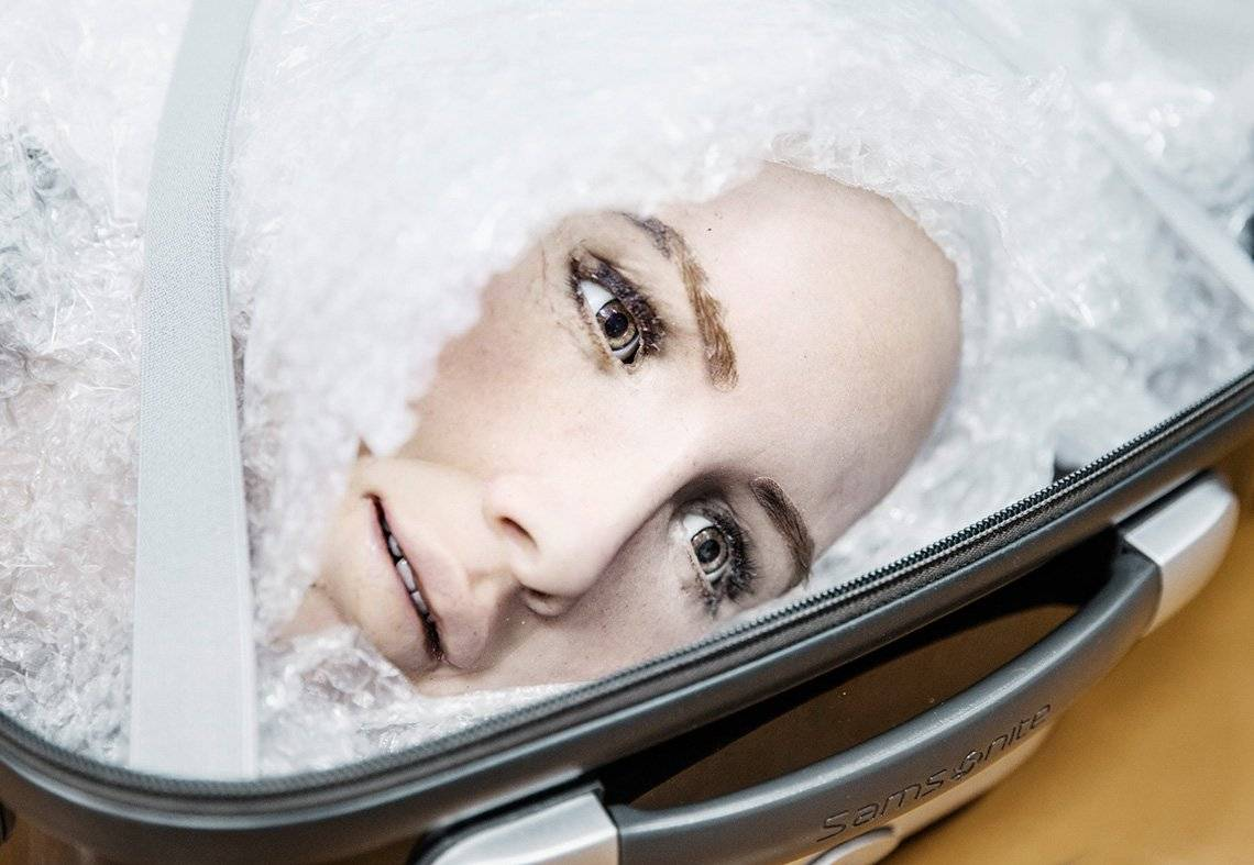 A close-up of Sophia's head, in a suitcase and protected in bubble wrap, ready to be transported.