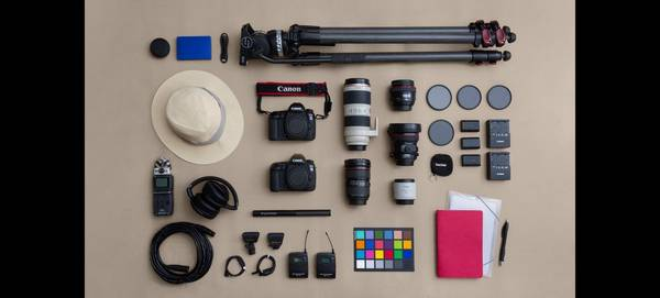 Canon Ambassador Dafna Tal's kitbag, containing Canon cameras and lenses.