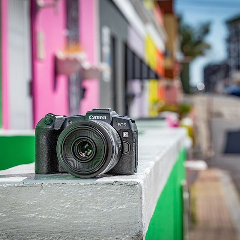 Canon EOS RP on colourful wall