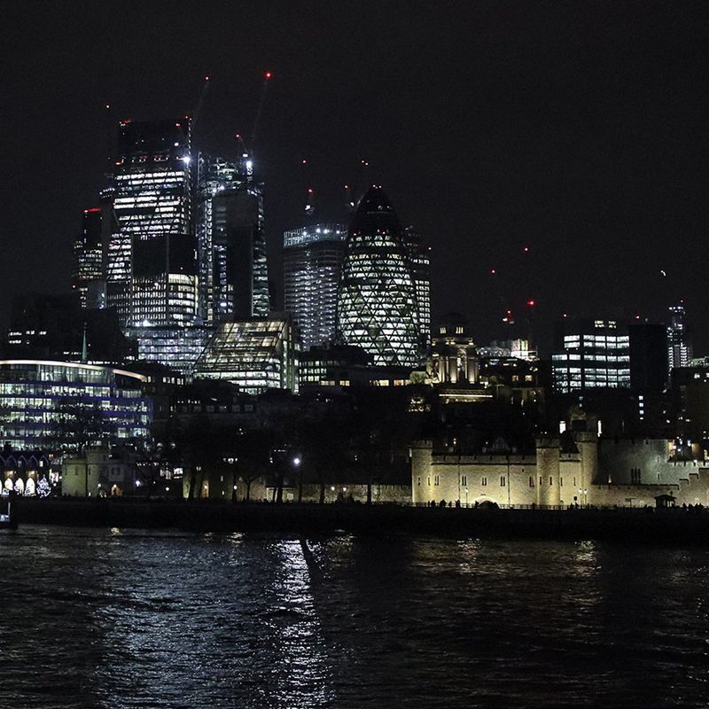 London river panorama at night.
