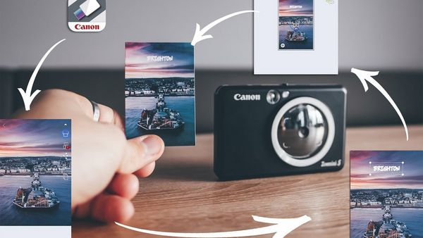An infographic showing how the Canon Zoemini S can be used with the Canon Mini Print App.