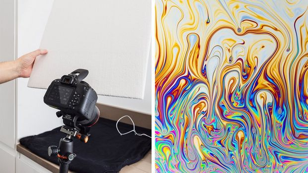A camera set up to photograph a desk (left). Swirling multicoloured patterns of soap in water (right).