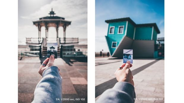 Joel Thorpe holding a print in front of a bandstand on Brighton beach front (left). Joel Thorpe holding a print in front of Brighton's upside-down house (right).