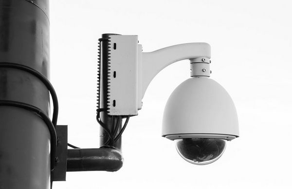 Network camera on wall