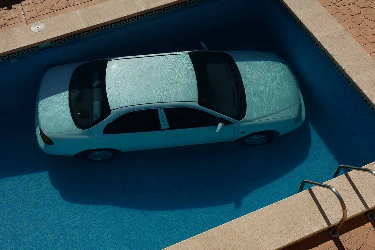 car in pool