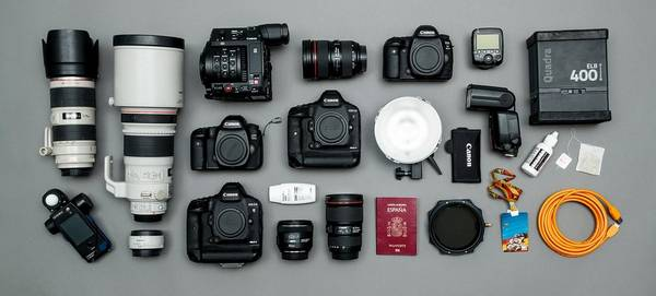 A selection of Canon cameras, lenses and accessories.