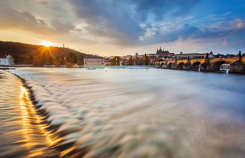 Prague river at sunset