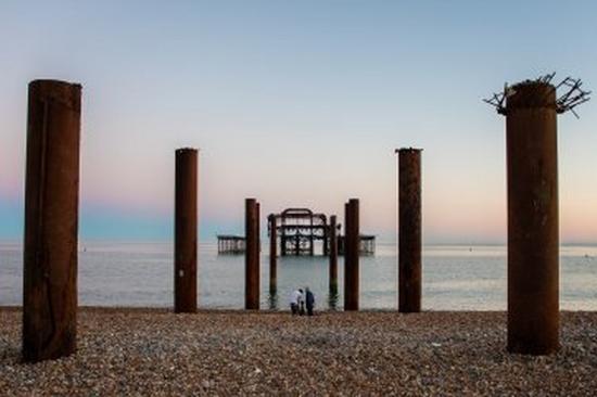 Pier ruins landscape beach