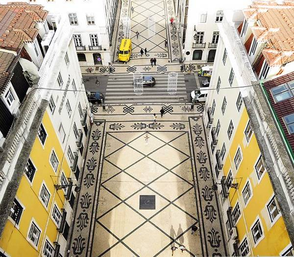 Birds eye view of Lisbon's streets in Portugal