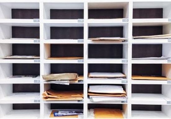 Traditional office pigeonholes for mail