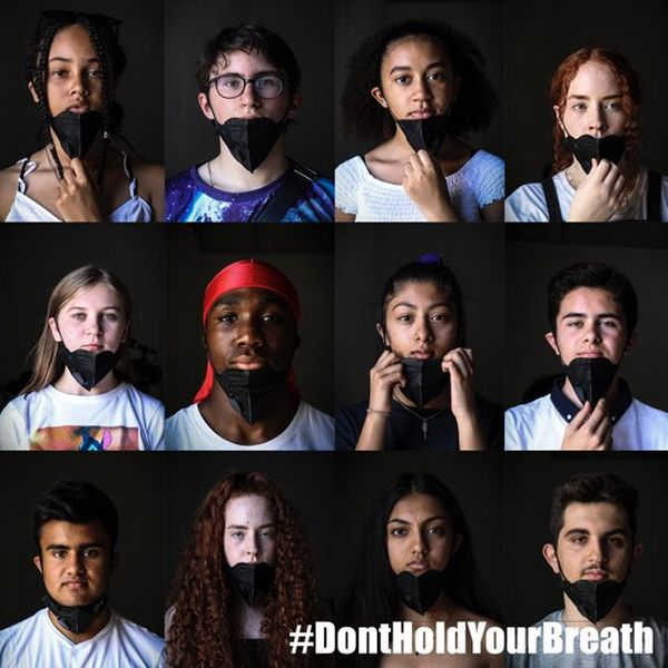 Twelve young people, against black backgrounds, all wearing masks to cover their mouths and noses, with a caption of #dontholdyourbreath