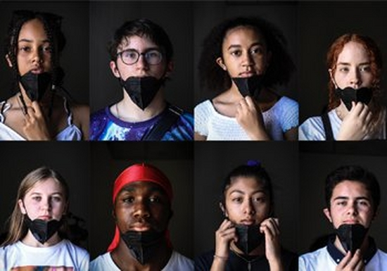 Eight young people, against black backgrounds, all wearing masks to cover their mouths and noses.