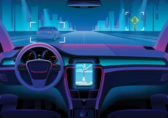 An illustration of the interior of a driverless car, rendered in purples, blues and reds.