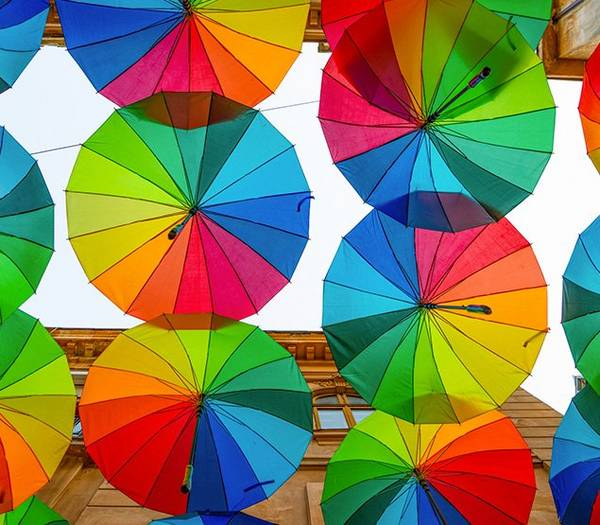 Colourful umbrellas in Madrid