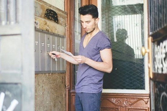 Man reading mail