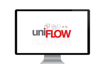 Computer screen showing the uniFLOW brand logo in grey and red letters.