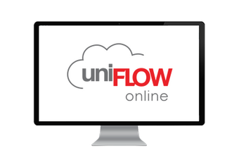 Computer screen showing the uniFLOW Online brand logo in grey and red letters, with a cloud outline.
