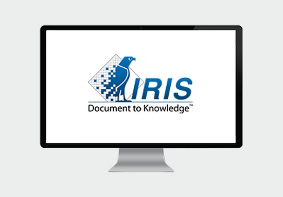 Computer screen showing the I.R.I.S logo in blue capital letters, with a small graphic of a blue eagle, and 'Document to Knowledge' written underneath.