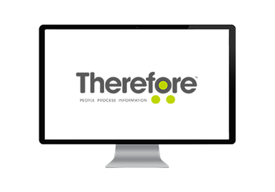 Computer screen showing the 'Therefore' brand logo in great lettering with green dots in and around the letter O.