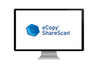 Computer screen showing the eCopy ShareScan logo in blue text and a hexangonal blue button.